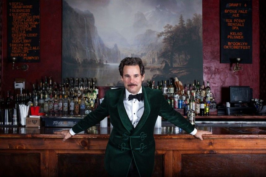 Paul-F-Tompkins-in-front-of-the-bar-Bell-House